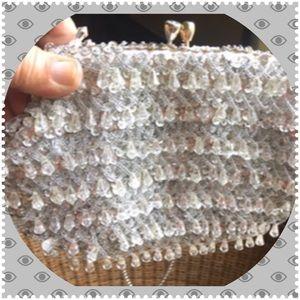 Vintage Clutch Evening Bag Silver Sequins Crystals